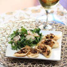 Crisp Pumpkin Raviolis with Pear & Pomegranate Salad
