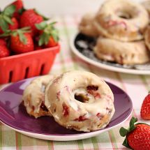 Baked Strawberry Balsamic Donuts with Cream Cheese Glaze