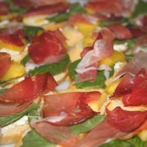 Crostini with Goat Cheese, Basil, Prosciutto and Pineapple