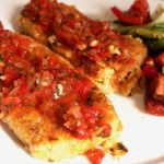 Lemony Chickpea Polenta Cakes with Warm Roasted Red Pepper Salsa