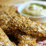 Pretzel Coated Chicken Fingers &amp; Honey Dijon Dipping Sauce