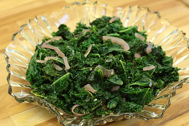 Garlic Kale with Pickled Red Onions
