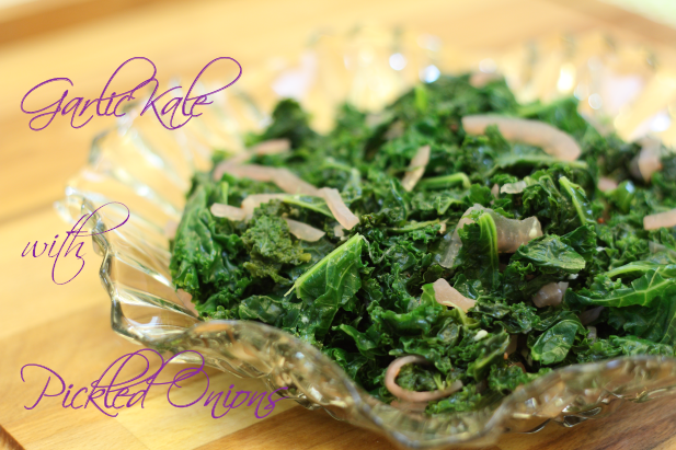 Garlic Kale with Pickled Red Onion
