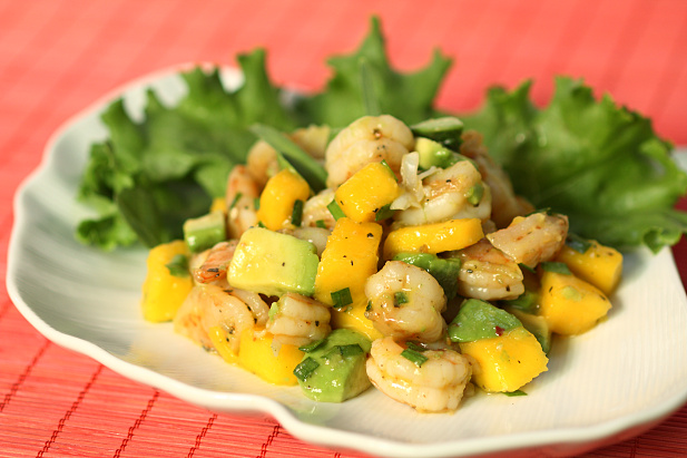 and cut each shrimp in ½ (in thirds if extra large). Add the mango ...