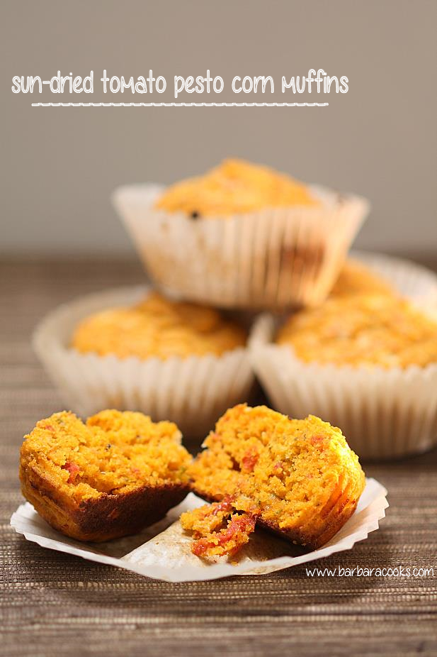 sun-dried tomato pesto corn muffins