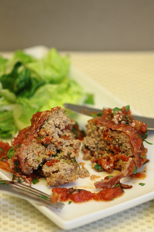 Prosciutto Wrapped & Stuffed Turkey Meatloaves