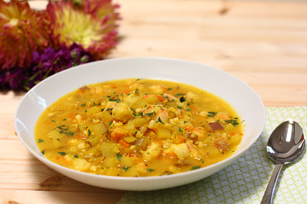 Saffron Potato Soup with Shrimp