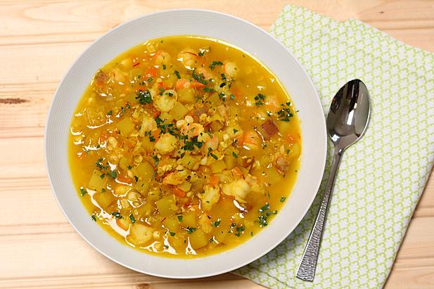 Saffron Potato Soup with Shrimp
