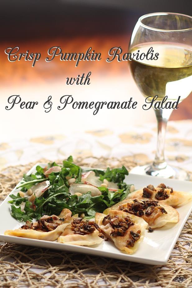 Crisp Pumpkin Ravioli with Pear & Pomegranate Salad
