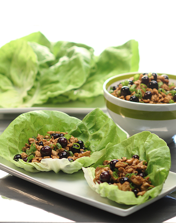 Blueberry Balsamic Chicken in Lettuce Cups