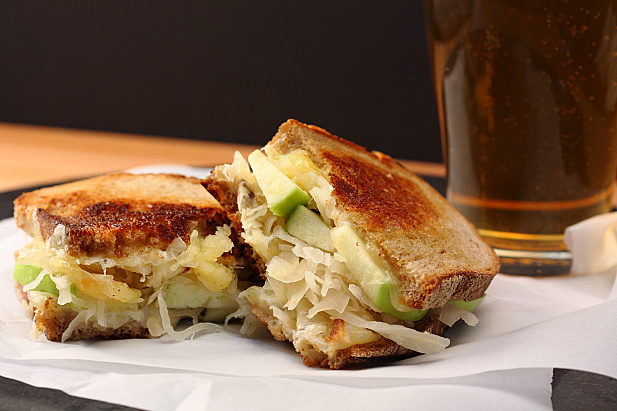 Irish Stout Grilled Cheese with Sauerkraut & Apples