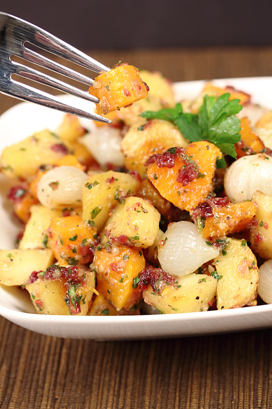 Butternut Squash & Potato Salad with Cranberry Pesto