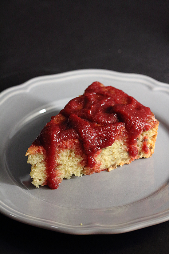 Gluten-Free Chestnut Cake with Beet Grape Sauce