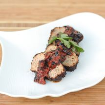 Coffee-Rubbed Pork Tenderloin with Blueberry Sauce and a Backyard Barbecue!