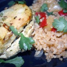 Coconut Curry Baked Chicken with Pineapple Brown Rice