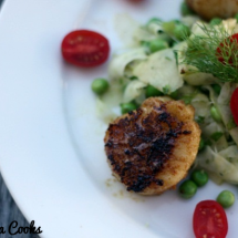 Cumin Crusted Scallops with Shaved Fennel, Apple and Pea Salad