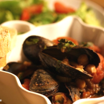 Mussels in Tomato, Basil and Chickpea Sauce