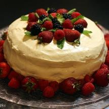 Chocolate Layer Cake with Bavarian Cream & Berries