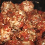 Greek Style Meatballs in Tomatoes and Eggplant